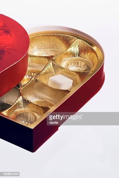 Sugar cube in a chocolate box