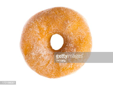 Sugar Donut Breakfast Pastry Isolated on White Background
