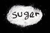 Sugar on a black background