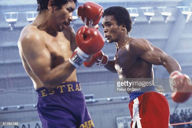 Sugar Ray Leanard throws a punch against Augustin Estrada at Ceasars Palace in Las Vegas NV on November 5 1977 Sugar Ray Leanard knocked out Augustin...