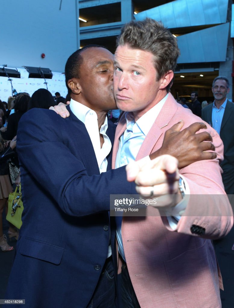 <a gi-track='captionPersonalityLinkClicked' href=/galleries/search?phrase=Sugar+Ray+Leonard&family=editorial&specificpeople=206479 ng-click='$event.stopPropagation()'>Sugar Ray Leonard</a> and <a gi-track='captionPersonalityLinkClicked' href=/galleries/search?phrase=Billy+Bush&family=editorial&specificpeople=742677 ng-click='$event.stopPropagation()'>Billy Bush</a> pose at the 16th Annual DesignCare to Benefit The HollyRod Foundation at The Lot Studios on July 19, 2014 in Los Angeles, California.