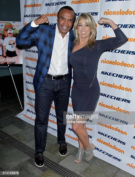 Sugar Ray Leonard and Denise Austin attend the 7th annual SKECHERS Pier To Pier Walk Check Presentation at Shade Hotel on March 10 2016 in Manhattan...