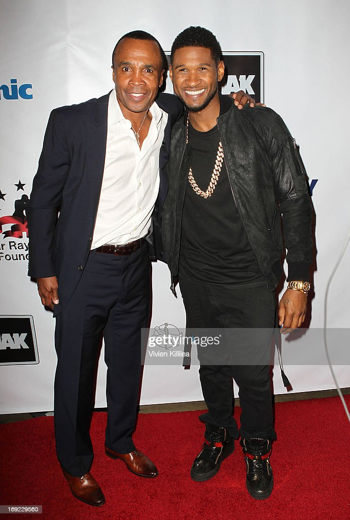 <a gi-track='captionPersonalityLinkClicked' href=/galleries/search?phrase=Sugar+Ray+Leonard&family=editorial&specificpeople=206479 ng-click='$event.stopPropagation()'>Sugar Ray Leonard</a> and Usher attend B. Riley & Co. & The <a gi-track='captionPersonalityLinkClicked' href=/galleries/search?phrase=Sugar+Ray+Leonard&family=editorial&specificpeople=206479 ng-click='$event.stopPropagation()'>Sugar Ray Leonard</a> Foundation Present The 4th Annual 'Big Fighters, Big Cause' Charity Fight Night To Benefit Juvenile Diabetes at Santa Monica Pier on May 21, 2013 in Santa Monica, California.