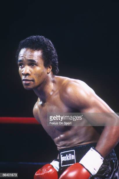 Sugar Ray Leonard eyes his opponent in the rink circa the 1970's during a match