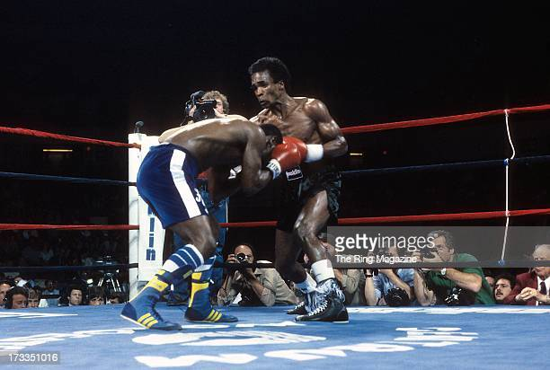 Sugar Ray Leonard lands a punch against Kevin Howard during the fight at the DCU Center in Worcester Massachusetts Sugar Ray Leonard won by a TKO 9