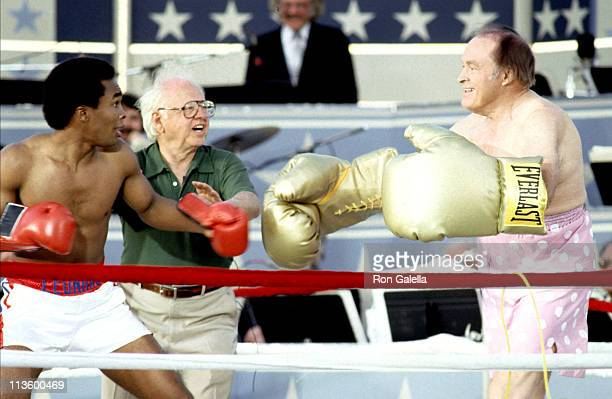 Sugar Ray Leonard Mickey Rooney and Bob Hope during Taping of Bob Hope USO 40th Anniversary Show at West Point in West Point New York United States