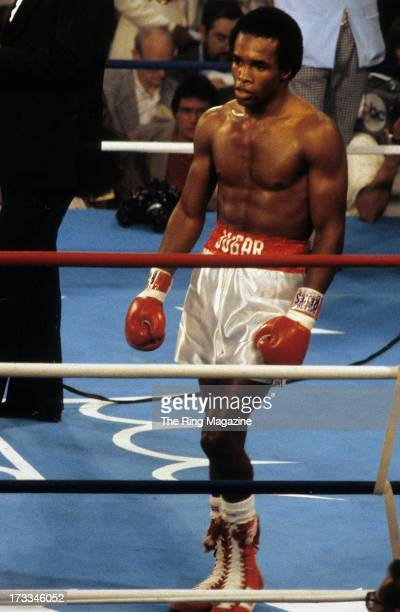 Sugar Ray Leonard walks in the ring after the fight against Andy Price at Caesars Palace in Las Vegas Nevada Sugar Ray Leonard won the NABF...