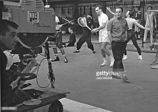 Sugar Ray Robinson and Gene Kelly rehearsing 'Dancing A Man's Game' for an NBCTV Omnibus program broadcast in 1958