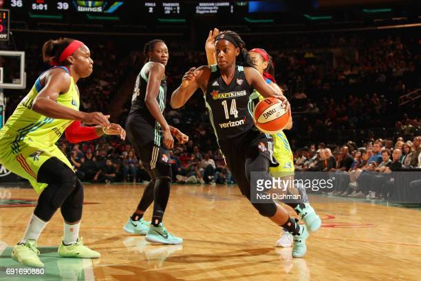 Sugar Rodgers of the New York Liberty drives to the basket during a game against the Dallas Wings on June 2 2017 at Madison Square Garden in New York...