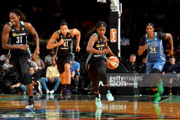 Sugar Rodgers of the New York Liberty handles the ball against the Minnesota Lynx on May 18 2017 at Madison Square Garden in New York City New York...