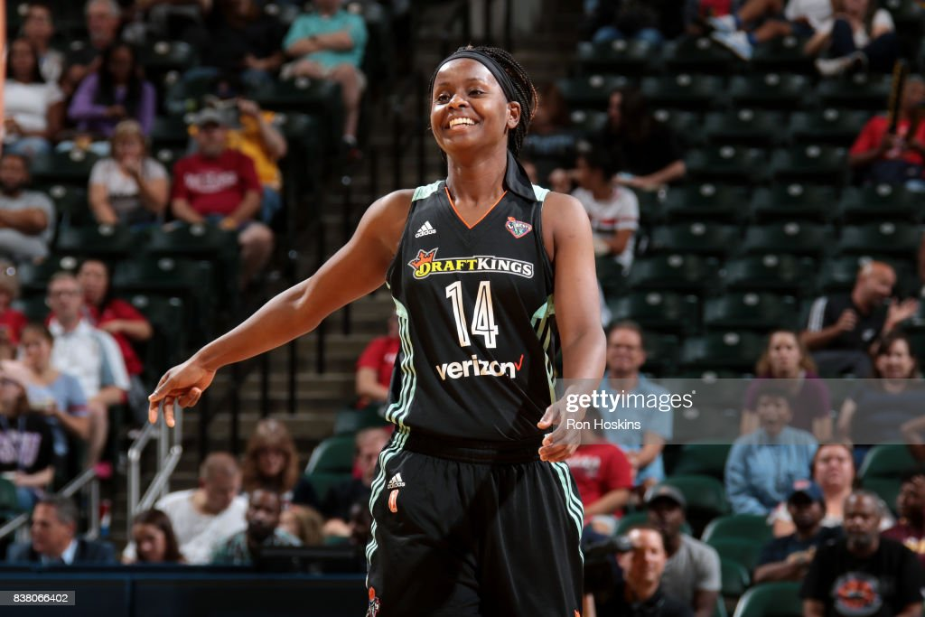 Sugar Rodgers #14 of the New York Liberty looks on during the game against the Indiana Fever during a WNBA game on August 23, 2017 at Bankers Life Fieldhouse in Indianapolis, Indiana.
