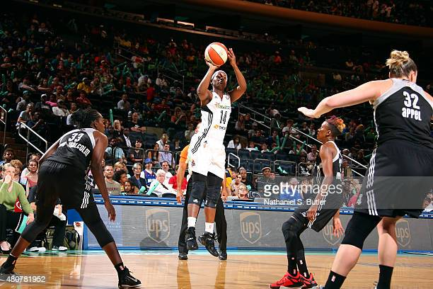 Sugar Rodgers of the New York Liberty shoots against the San Antonio Stars on July 15 2015 at Madison Square Garden in New York City NY NOTE TO USER...