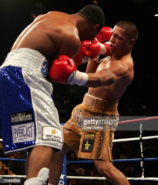 Sugar Shane Mosley and Fernando Vargas in action during the junior middleweight 'Showdown' at the Mandalay Bay Resort in Las Vegas Nevada on February...