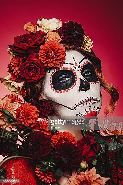 Sugar skull kreativen make-up für halloween