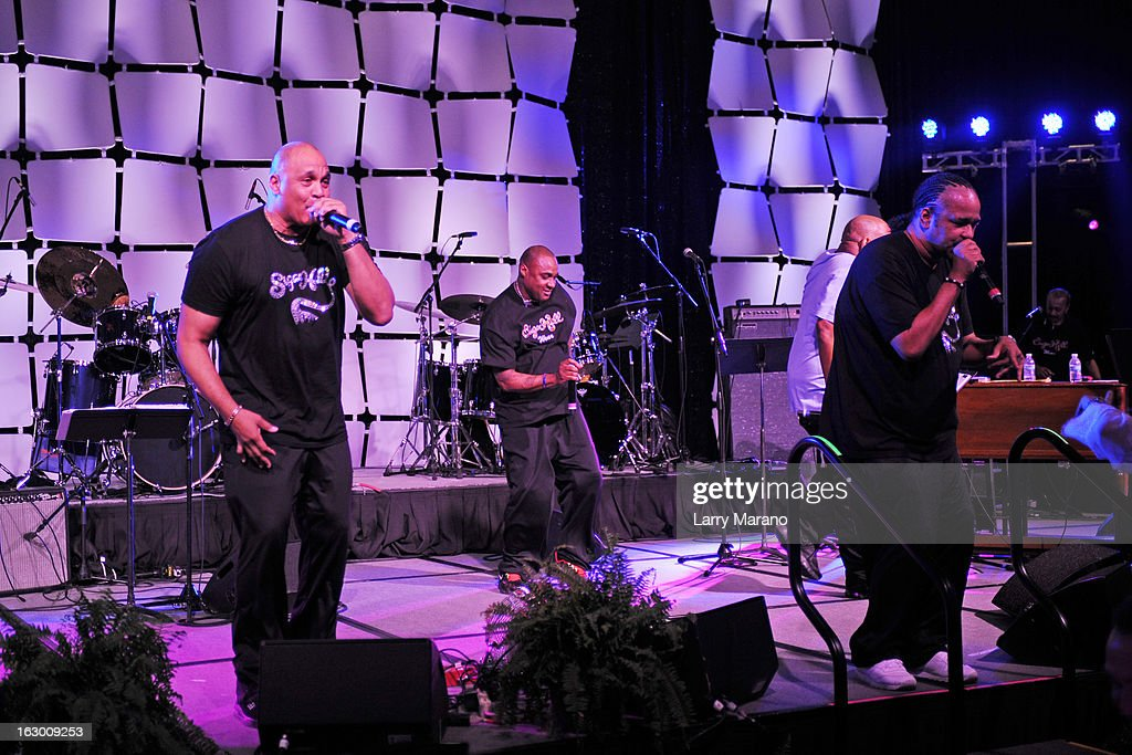 Sugarhill gang performs at The Classic Rock And Roll Party to benefit HomeSafe at Seminole Hard Rock Hotel on March 2, 2013 in Hollywood, Florida.