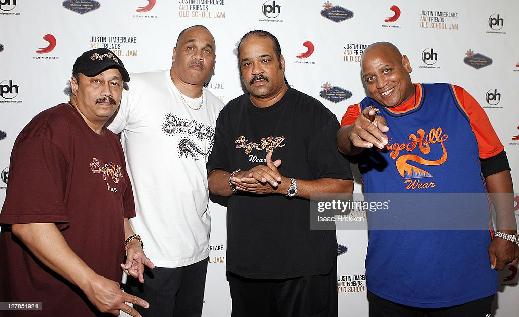 Sugarhill Gang recording artists David 'Davey D' Gunthorpe (L-R) Michael 'Wonder Mike' Wright, Joey 'Master Gee' Robinson and Henry '<a gi-track='captionPersonalityLinkClicked' href=/galleries/search?phrase=Big+Bank+Hank&family=editorial&specificpeople=2199135 ng-click='$event.stopPropagation()'>Big Bank Hank</a>' Jackson arrive at the Justin Timberlake and Friends Old School Jam concert benefiting Shriners Hospitals for Children at the Planet Hollywood Theater for the Performing Arts on October 1, 2011 in Las Vegas, Nevada.