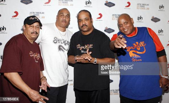 Sugarhill Gang recording artists David 'Davey D' Gunthorpe Michael 'Wonder Mike' Wright Joey 'Master Gee' Robinson and Henry 'Big Bank Hank' Jackson...