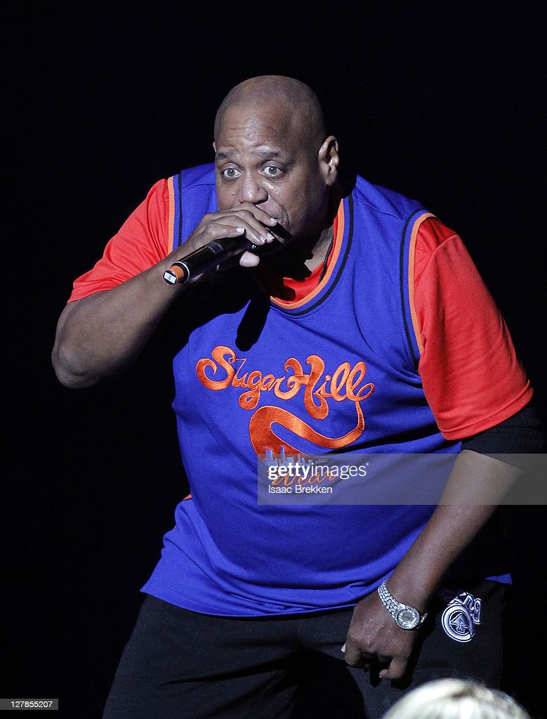 Sugarhill Gang's Henry '<a gi-track='captionPersonalityLinkClicked' href=/galleries/search?phrase=Big+Bank+Hank&family=editorial&specificpeople=2199135 ng-click='$event.stopPropagation()'>Big Bank Hank</a>' Jackson performs during the Justin Timberlake and Friends Old School Jam concert benefiting Shriners Hospitals for Children at the Planet Hollywood Theater for the Performing Arts on October 1, 2011 in Las Vegas, Nevada.