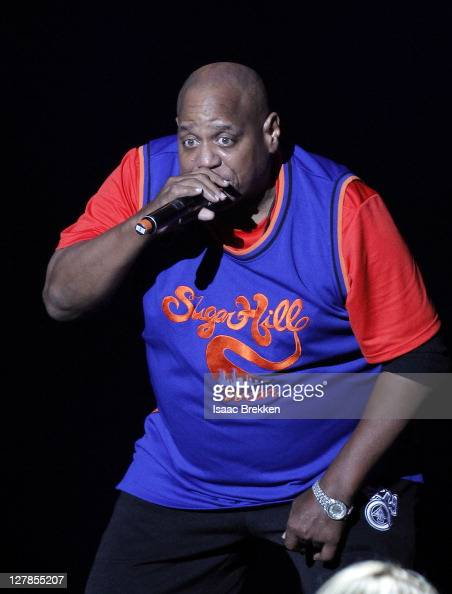 Sugarhill Gang's Henry 'Big Bank Hank' Jackson performs during the Justin Timberlake and Friends Old School Jam concert benefiting Shriners Hospitals...