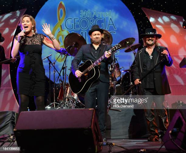 Sugarland's Jennifer Nettles and Kristian Bush is joined by 38 Special's Donnie Van Zant in the singing of 'Georgia on my Mind' during the 34th...