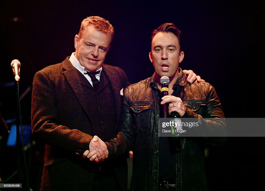 Suggs (L) and Christian O'Connell on stage during The Stubhub Q Awards 2016 at The Roundhouse on November 2, 2016 in London, England.