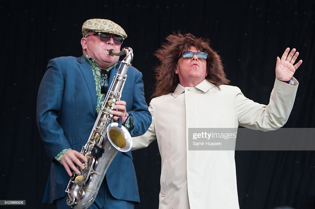 Suggs and Lee Thompson of Madness performs on the Pyramid Stage at Glastonbury Festival 2016 at Worthy Farm, Pilton on June 25, 2016 in Glastonbury, England.