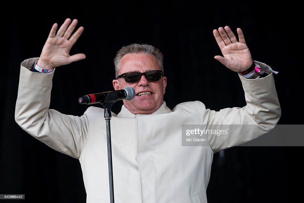 Suggs of 'Madness' performs on the Pyramid Stage on day 2 of the Glastonbury Festival at Worthy Farm, Pilton on June 25, 2016 in Glastonbury, England. Now in its 46th year the festival is one largest music festivals in the world and this year features headline acts Muse, Adele and Coldplay. The Festival, which Michael Eavis started in 1970 when several hundred hippies paid just £, now attracts more than 175,000 people.