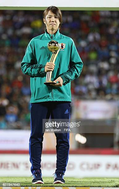 Sugita Hina of Japan pictured with the Adidas Golden Ball during the FIFA U20 Women's World Cup Final match between Korea DPRand France at the...