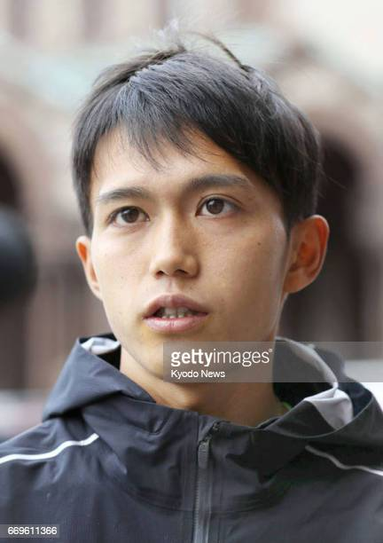 Suguru Osako of Japan seen in this photo taken April 17 2017 in Boston finished third in the Boston Marathon the same day with a time of 2 hours 10...