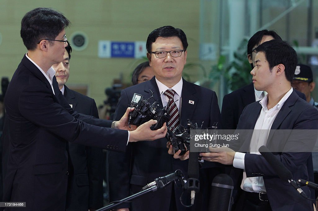 Suh Ho, the head of South Korea's working-level delegation speaks before leaving for meeting, at the customs, immigration and quarantine office on July 10, 2013 in Seoul, South Korea. Government officals and business leaders from North and South Korea will hold talks today to discuss resuming operations at the Kaesong Joint Industrial Park 10 kilometres north of the border. North Korea withdrew over 50,00 of it's staff from the factories owned by Seoul in April of this year, and South Korea removed managers in May, during the height of tensions between the two nations.