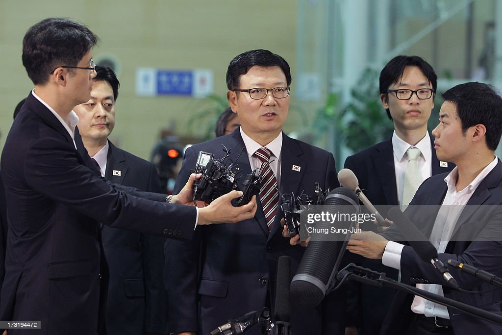 Suh Ho, the head of South Korea's working-level delegation speaks before leaving for meeting, at the customs, immigration and quarantine office on July 10, 2013 in Paju, South Korea. Government officals and business leaders from North and South Korea will hold talks today to discuss resuming operations at the Kaesong Joint Industrial Park 10 kilometres north of the border. North Korea withdrew over 50,00 of it's staff from the factories owned by Seoul in April of this year, and South Korea removed managers in May, during the height of tensions between the two nations.