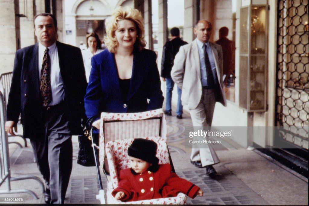 Suha Arafat, wife of Palestinian leader Yasser Arafat, and her Daughter in Paris.