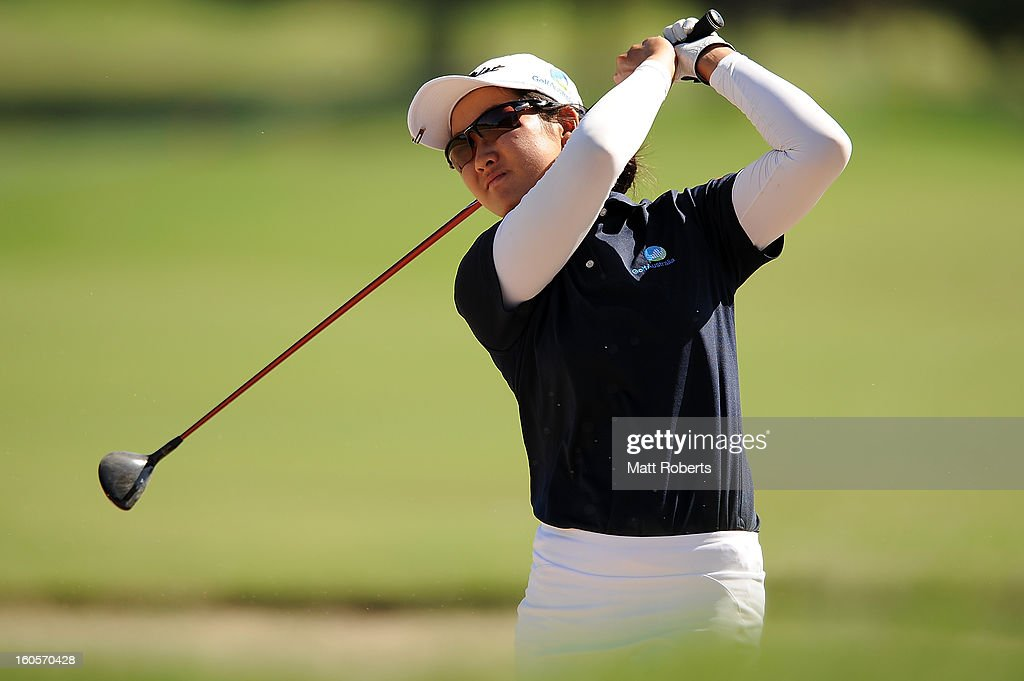 Su-Hyun Ho of Australia hits from a bunker on the 12th hole during the Australian Ladies Masters at Royal Pines Resort on February 3, 2013 on the Gold Coast, Australia.