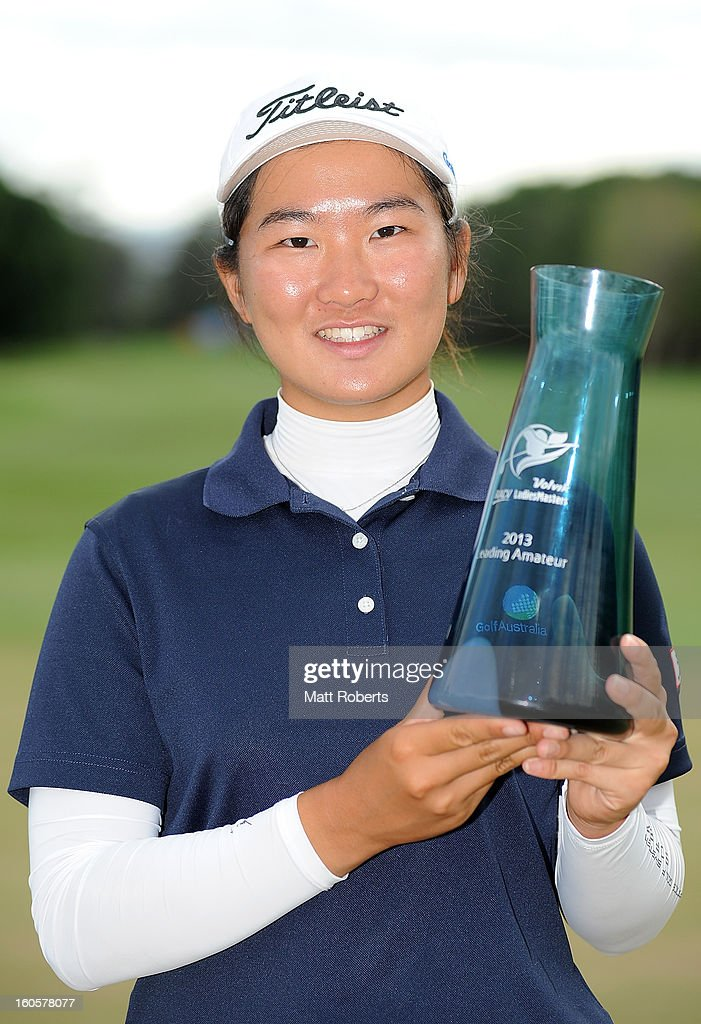Su-Hyun Ho of Australia poses with the amateur trophy after the Australian Ladies Masters at Royal Pines Resort on February 3, 2013 on the Gold Coast, Australia.