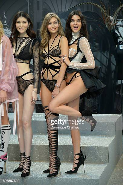 Sui He Gigi Hadid and Kendall Jenner pose backstage during 2016 Victoria's Secret Fashion Show on November 30 2016 in Paris France