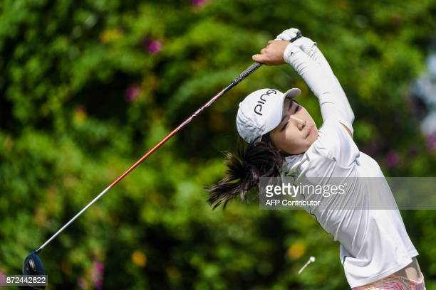 Sui Xiang of China plays a shot during the Blue Bay LPGA tournament at Jian Lake Blue Bay Golf Course in Sanya on China's southern Hainan province on...