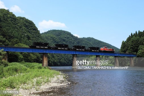 Suigun Line train going over Kuji River, Ibaraki Prefecture Honshu, Japan
