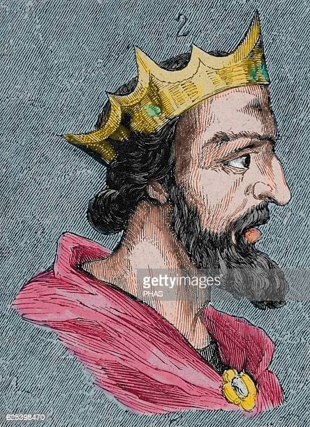 Suintila Visigothic King of Hispania Septimania and Galicia from 621 to 631 Portrait Engraving Colored