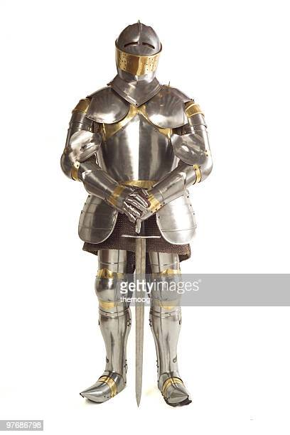 Suit of armor on white background