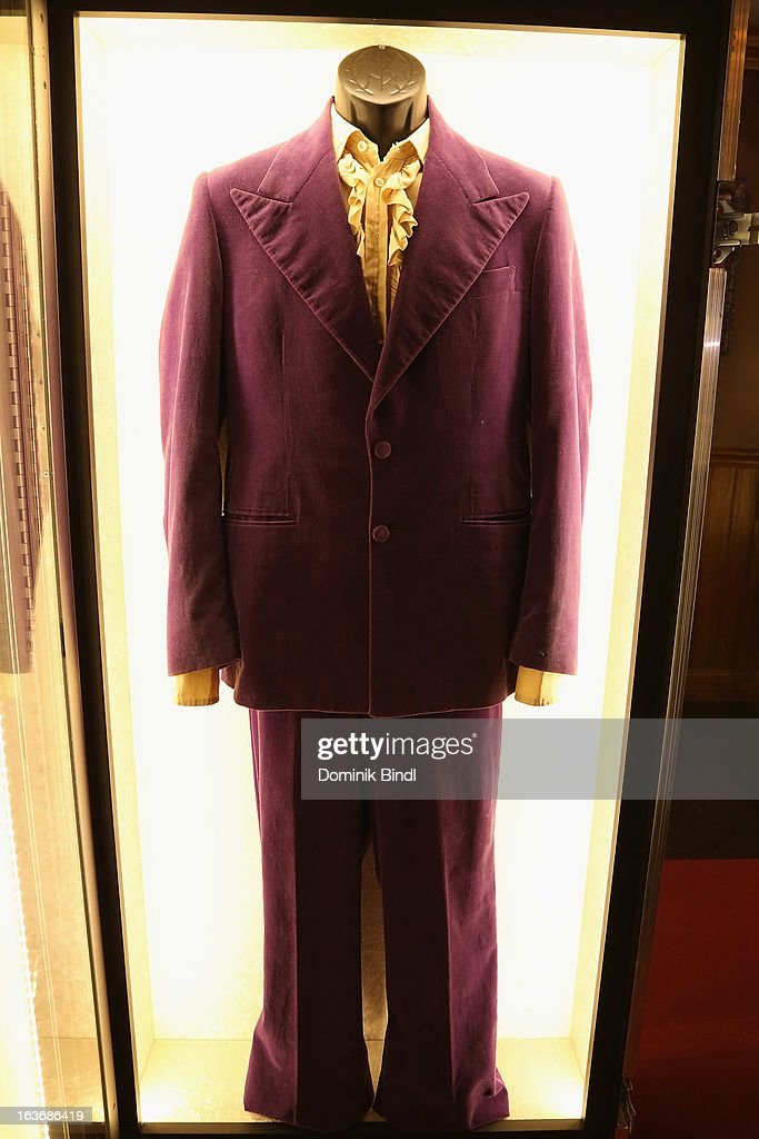 Suit of Jimi Hendrix at the exhibition Hard Rock Couture - Music Inspired Fashion at the Hard Rock Cafe on March 14, 2013 in Munich, Germany.