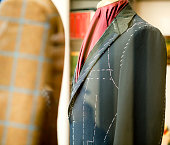 Suit in a store on Savile Row Street, London