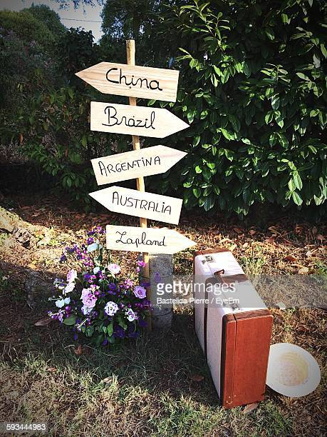 Suitcase And Sun Hat By Directional Road Sign Against Plants
