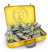 A suitcase with a sign of bitcoin and a large pile of dollars. 3d rendering.