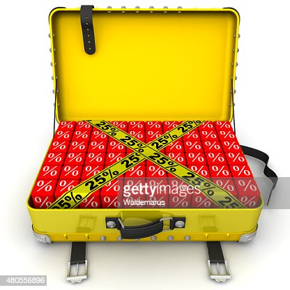 Suitcase filled with discount of 25%. Financial concept : Stock Photo