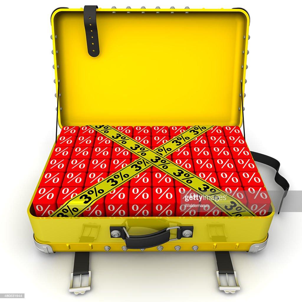 Koffer mit Ermäßigung von 3% . Finanzielle-Konzept : Stock-Foto