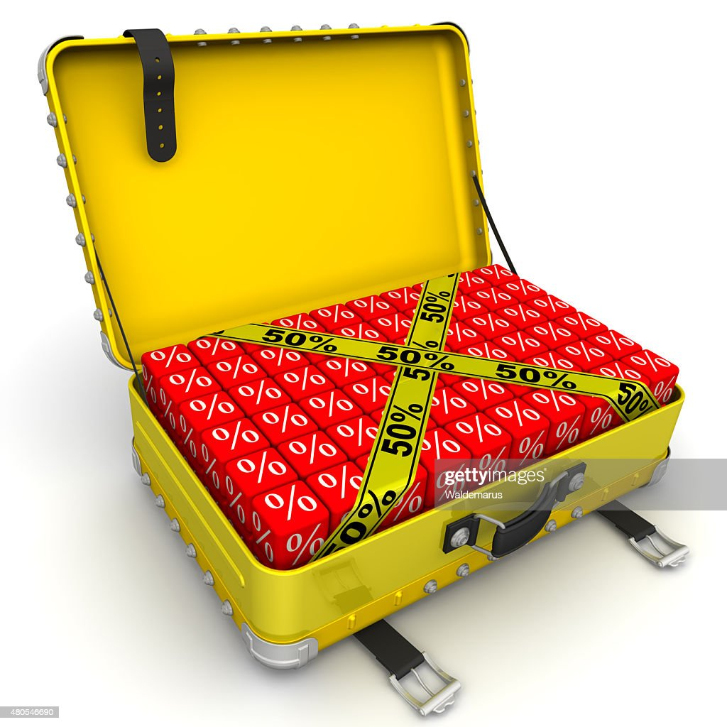 Suitcase filled with discount of 50%. Financial concept : Stock Photo