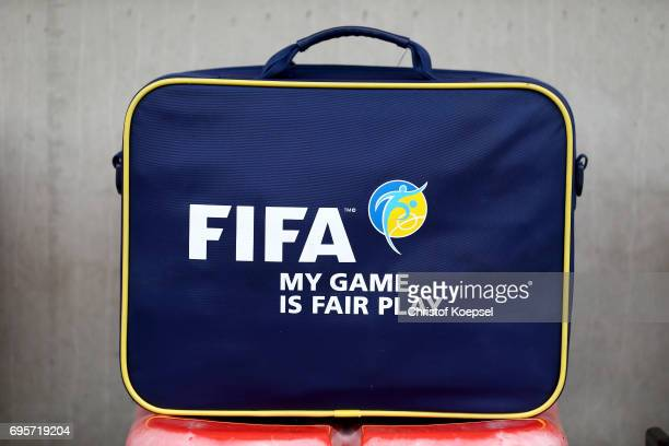 FIFA suitcase is seen on the bench prior to the Women's International Friendly match between Belgium and Japan at Stadium Den Dreef on June 13 2017...