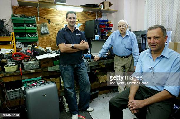 Suitcase/ luggage repair specialists 91 yr old Gordon Vale his son Peter Vale and son in law Dustin 18 May 2006 SMH Picture by EDWINA PICKLES