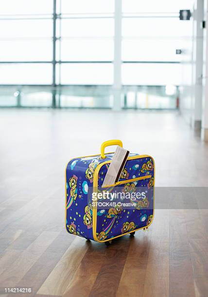 A suitcase of a child with ticket, Munich airport, Bavaria, Germany