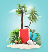 Suitcases or luggages on the beach